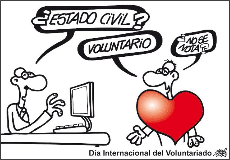 viñeta: ¿Estado civil? voluntario... ¿no se nota?
